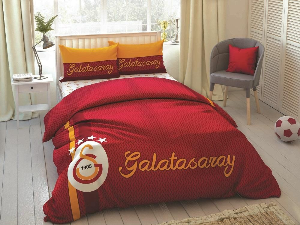 100% Cotton Licensed GALATASARAY S.K. Galatasaray STRIPED Duvet Bedding Duvet Cover Set  For Kids Children Toddler, Boy Or Girl