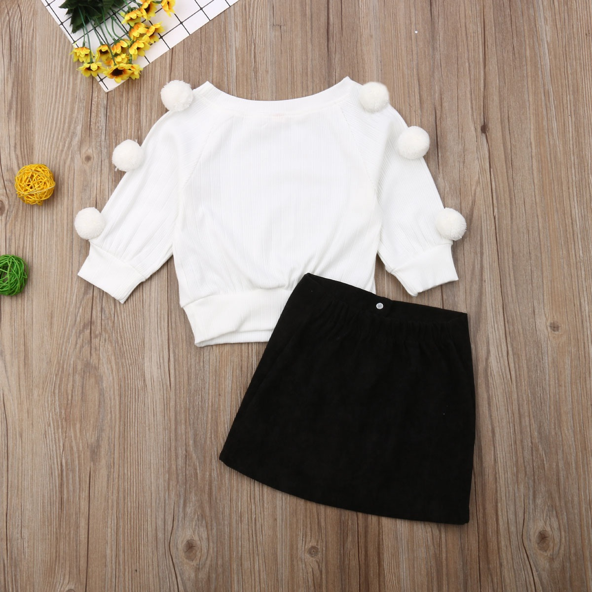 Toddler Little Girls Warm Outfit Long Sleeve Knitting Pullover Pompom Sweatshirt Solid Hip Skirts Kids Set