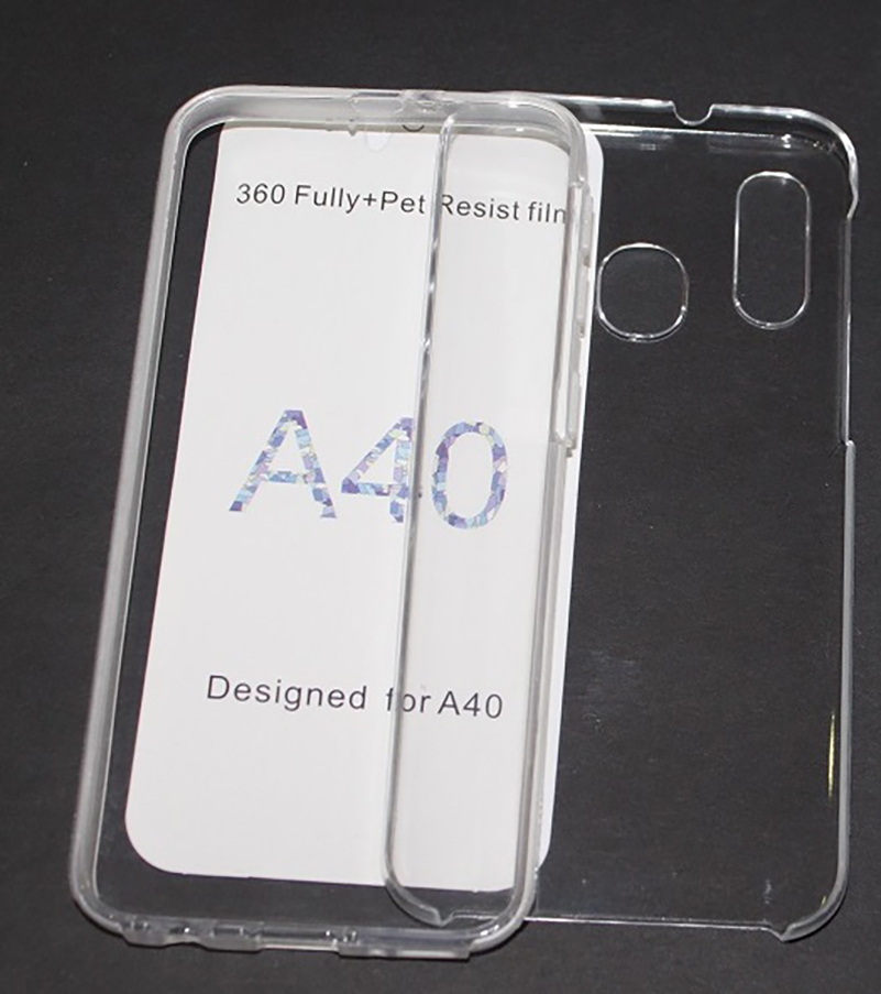 Stand Case Double 360 ° For SAMSUNG GALAXY A40 Front + Back Clear