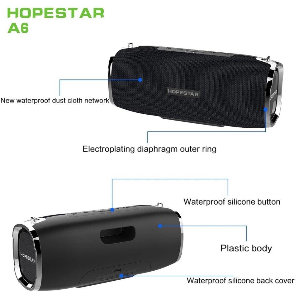 HOPESTAR A6 Bluetooth динамик 35 Вт Колонка для басов сабвуфер Портативный беспроводной громкий динамик стерео водонепроницаемый