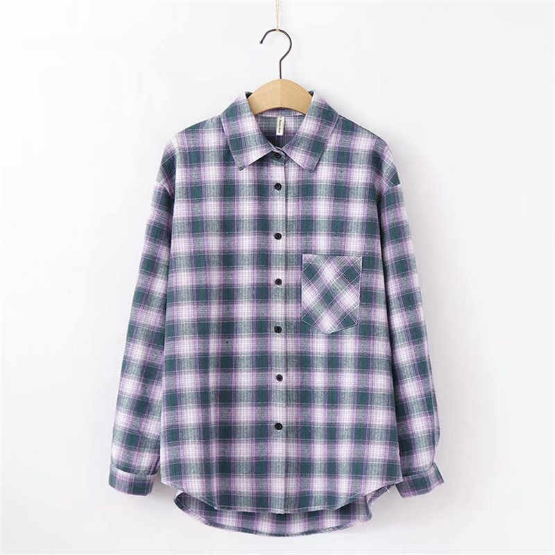 All-partita camicia di plaid allentato multicolore autunno plaid a maniche lunghe camicia di cotone studente 1234X