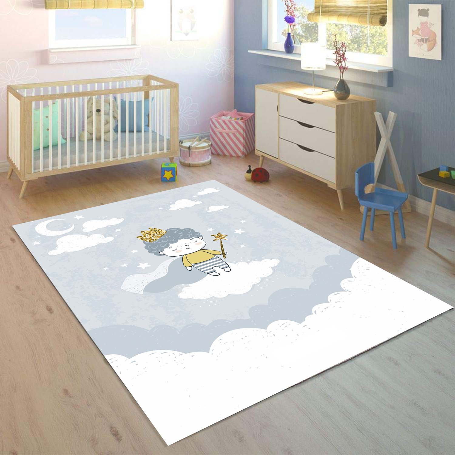 Else Little Prens On Gray White Clouds 3d Print Non Slip Microfiber Children Kids Room Decorative Area Rug Mat