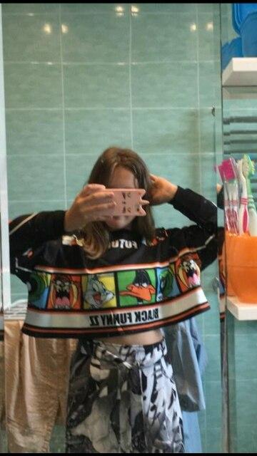 Women Crop Hoodies Autumn O Neck Long Sleeve Short Pullovers Femme Cartoon Print Harajuku Hoodies Sweatshirt photo review