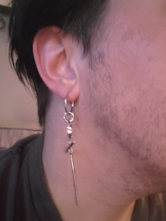 Asymmetric Earrings with cross pendant and rings photo review