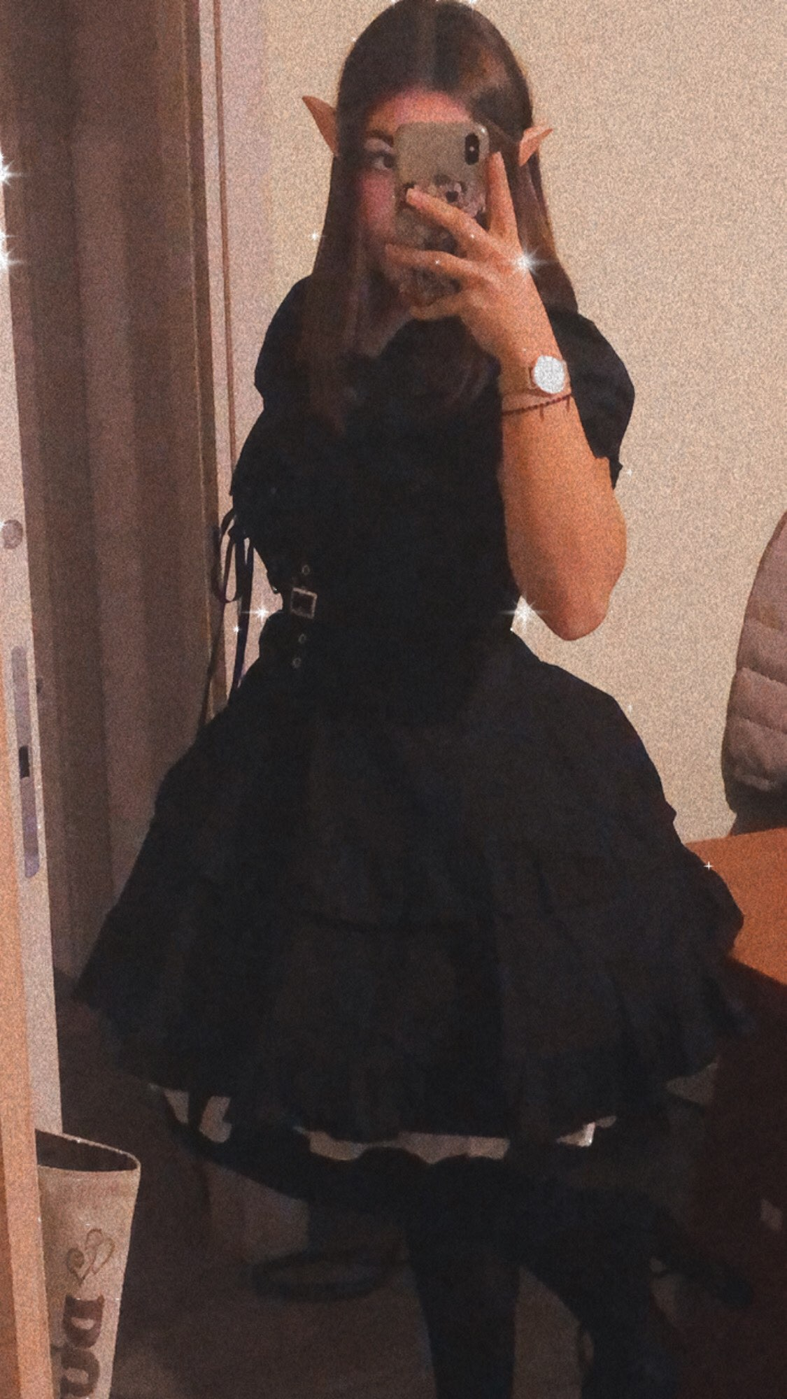 Dark Style Fluffy Dress with Bandage photo review