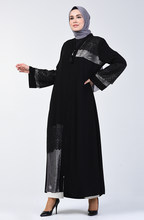 Sefamerve Laced Garnished Evening Dress Abaya 2020-01 Black 2020-01()