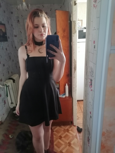 Gothic style Black Mini Dress with pendants photo review