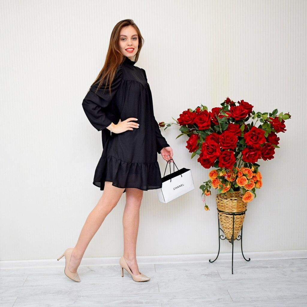 Hot 2019 autumn new fashion women's temperament commuter puff sleeve small high collar natural A word knee Chiffon dress reviews №1 342816