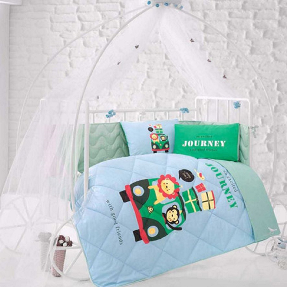 Made In Turkey JOURNEY Infant Baby Crib Bedding Bumper Set For Boy Girl Nursery Cartoon Animal Baby Cot Cotton Soft Antiallergic