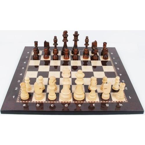 Jeu d'échecs de luxe en bois Figure d'échecs médiévaux - pièces et échiquier de haute qualité 1