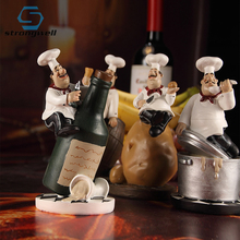 Strongwell American Style Resin Chef Figurine Creative White Top Hat Cook Kitchen Decor Home Art Collectible