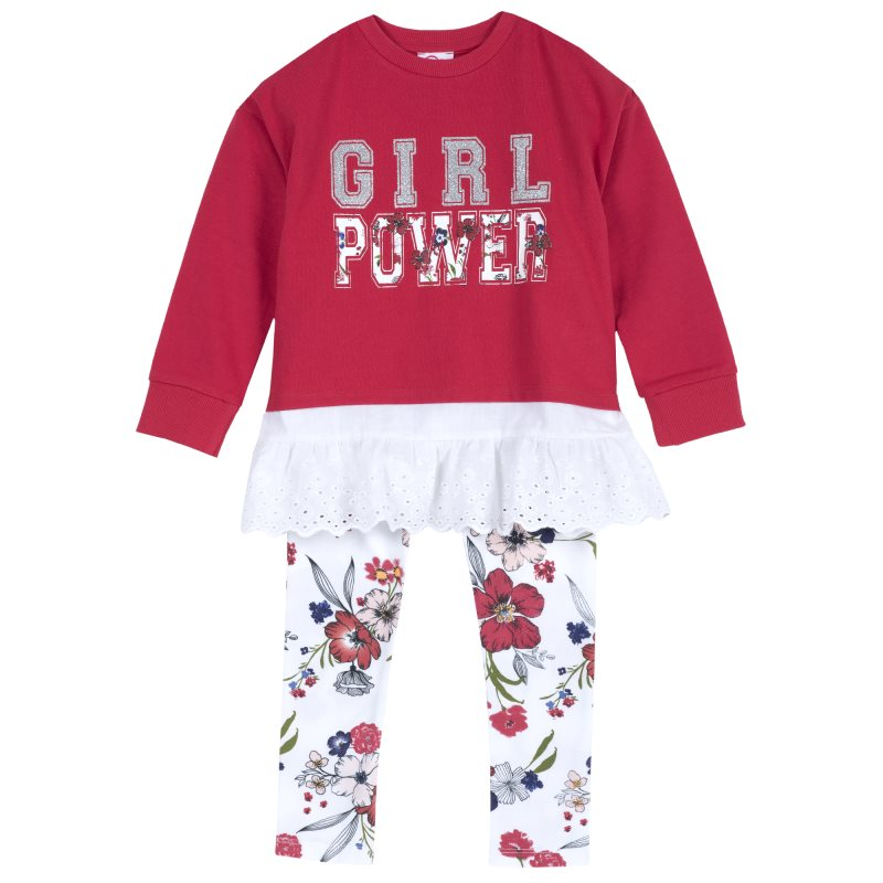 Фото - Set sweatshirt and leggings Chicco, size 122, color red shoes velcro genuine leather chicco size 200 color blue and red