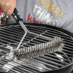 Accessoires de cuisine Barbecue Barbecue Kit brosse de nettoyage en acier inoxydable outils de cuisson fil poils Triangle brosses de nettoyage