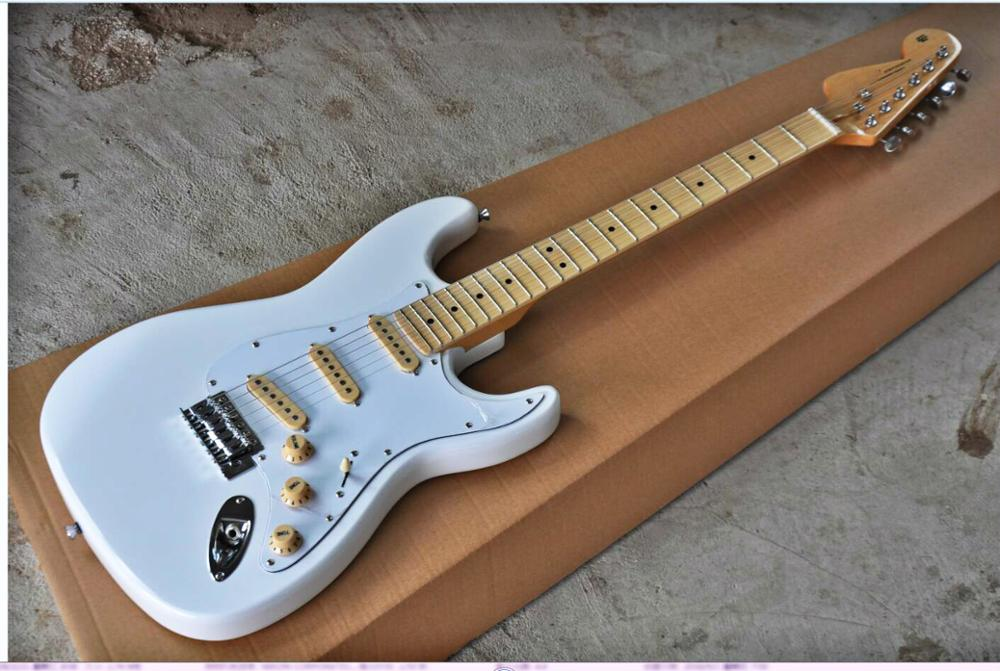 High quality FDST-1053 white color solid body with reverse neck white pickguard maple fretboard electric guitar, Free shipping