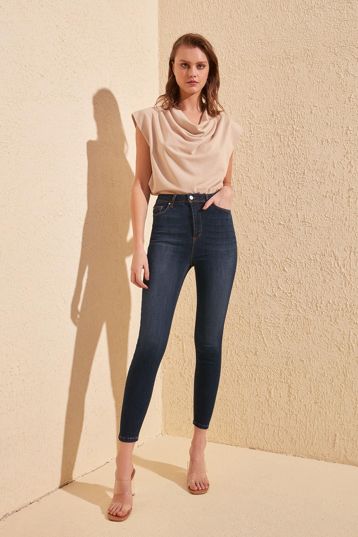 Trendyol Depletory Effect High Waist Skinny Jeans TWOSS20JE0223