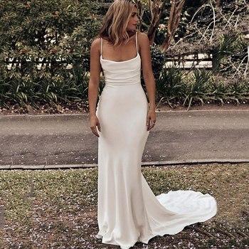 цена на Feminine Silk Satin Mermaid Wedding Dresses 2020 Sexy Criss Cross Back Spaghetti Straps Trumpet Bridal Gowns