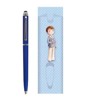 Lot 30 cases ball pen point boy First Communion + 30 Pens blue. United reminder for guests to the First Communion.