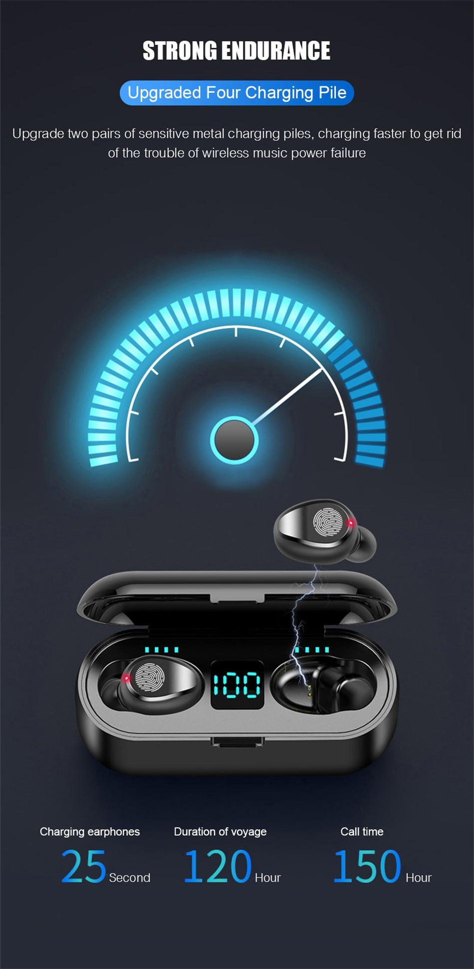 Wireless Earphone Bluetooth V5.0 Wireless Bluetooth Headphone LED Display With 2000mAh Power Bank Stereo Sport Headset With Mic (16)