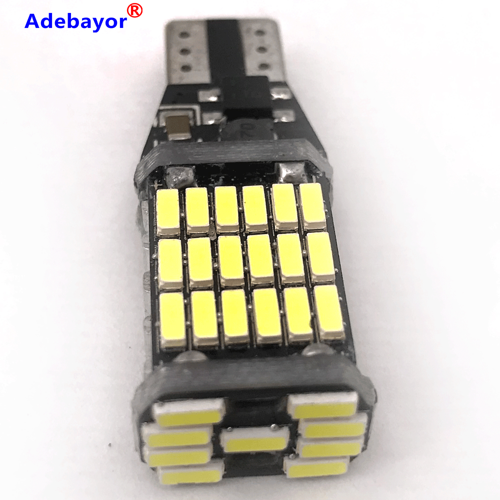 100 sztuk T15 t10 45 SMD 4014 LED Auto dodatkowe światło hamowania dodatkowe światła cofania samochodów światła do jazdy dziennej biały 12V 24V canbus