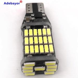 Image 1 - Canbus, 100 pièces, lampe de stop supplémentaire T15 t10 45 SMD 4014 LED, lumière de marche arrière pour voiture, lumière blanche de jour, 12V 24V, pièces