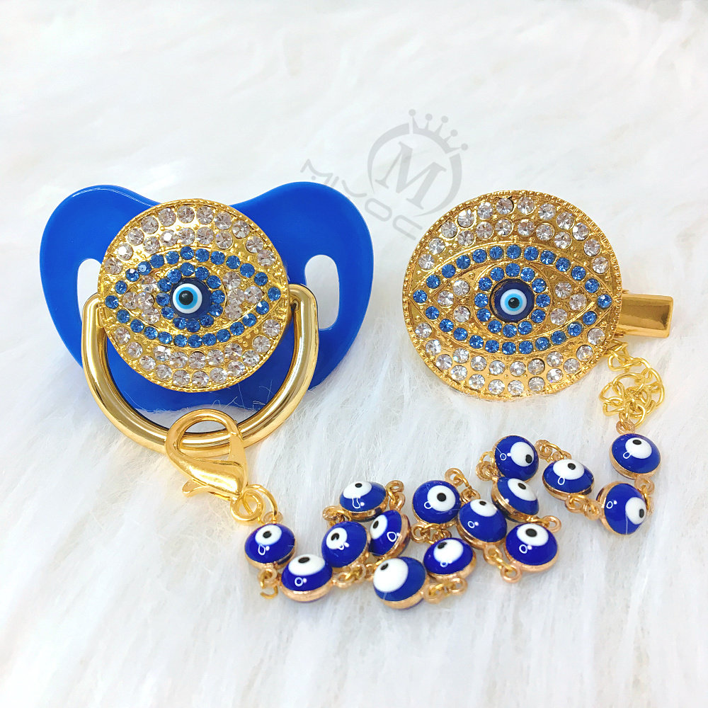 MIYOCAR Blue Bling Evil Eye Pacifier And Clip Set Pacifier Chain Holder Bling Colorful Lovely Evil Eye Pacifier AEYE-C