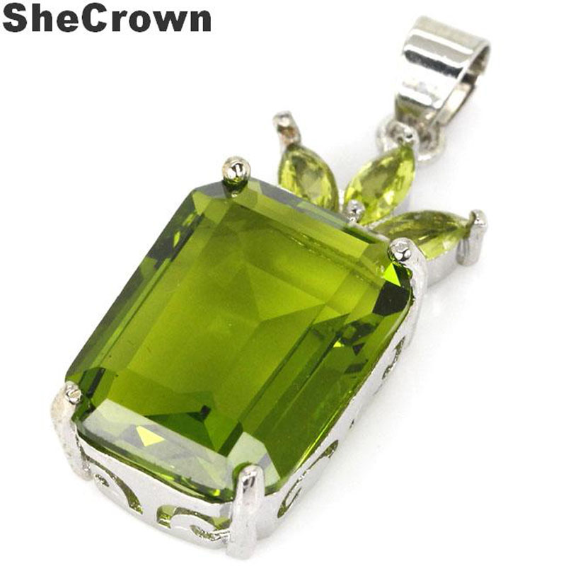 32x13mm SheCrown Rectangle 18x13mm Created Green Peridot Gift For Sister Silver Pendant