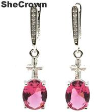 34x8mm 2019 New Arrival Created Cross Pink Tourmaline Natural CZ Gift For Girls Silver Earrings