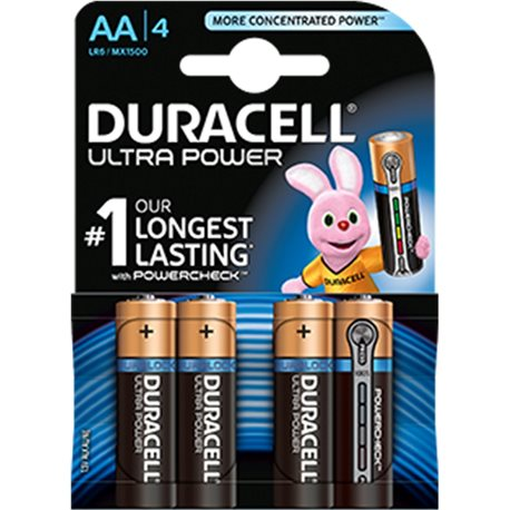 ALKALINE LR06 AA 1,5V ULTRA POWER DURACELL 4 PZ