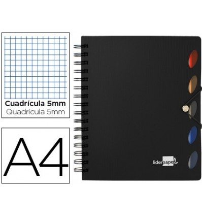 SPIRAL NOTEBOOK LEADERPAPER A4 MICRO EXECUTIVE PLASTIC CAP 100H 80GSM TABLE 5MM 5 SEPARATORS WITH GOMILLA BLACK