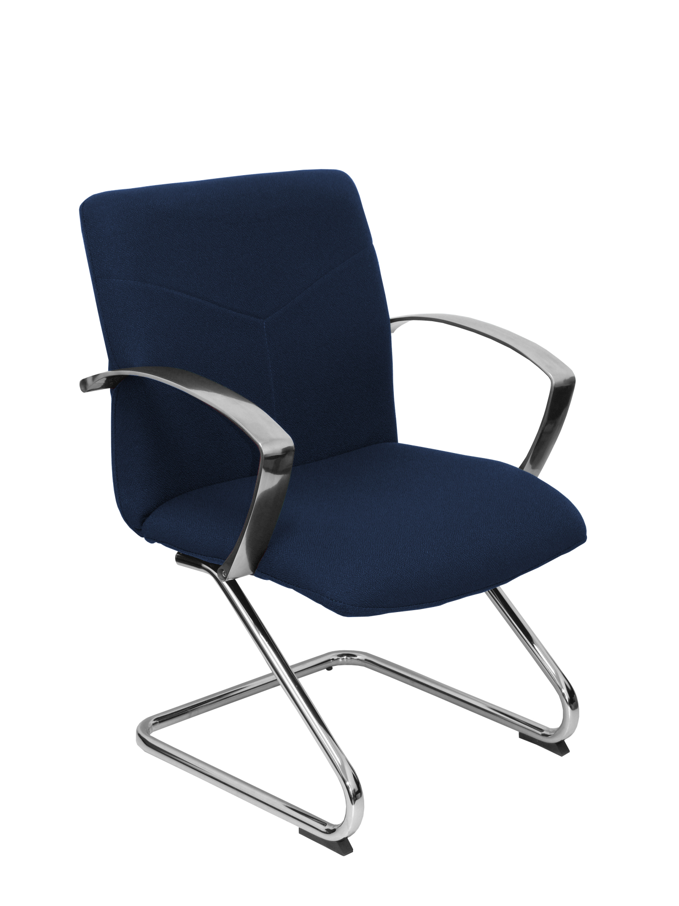 Armchair Reception Ergonomic Fixed Arms And Skate Chrome Seat And Back Upholstered In Fabric BALI Color