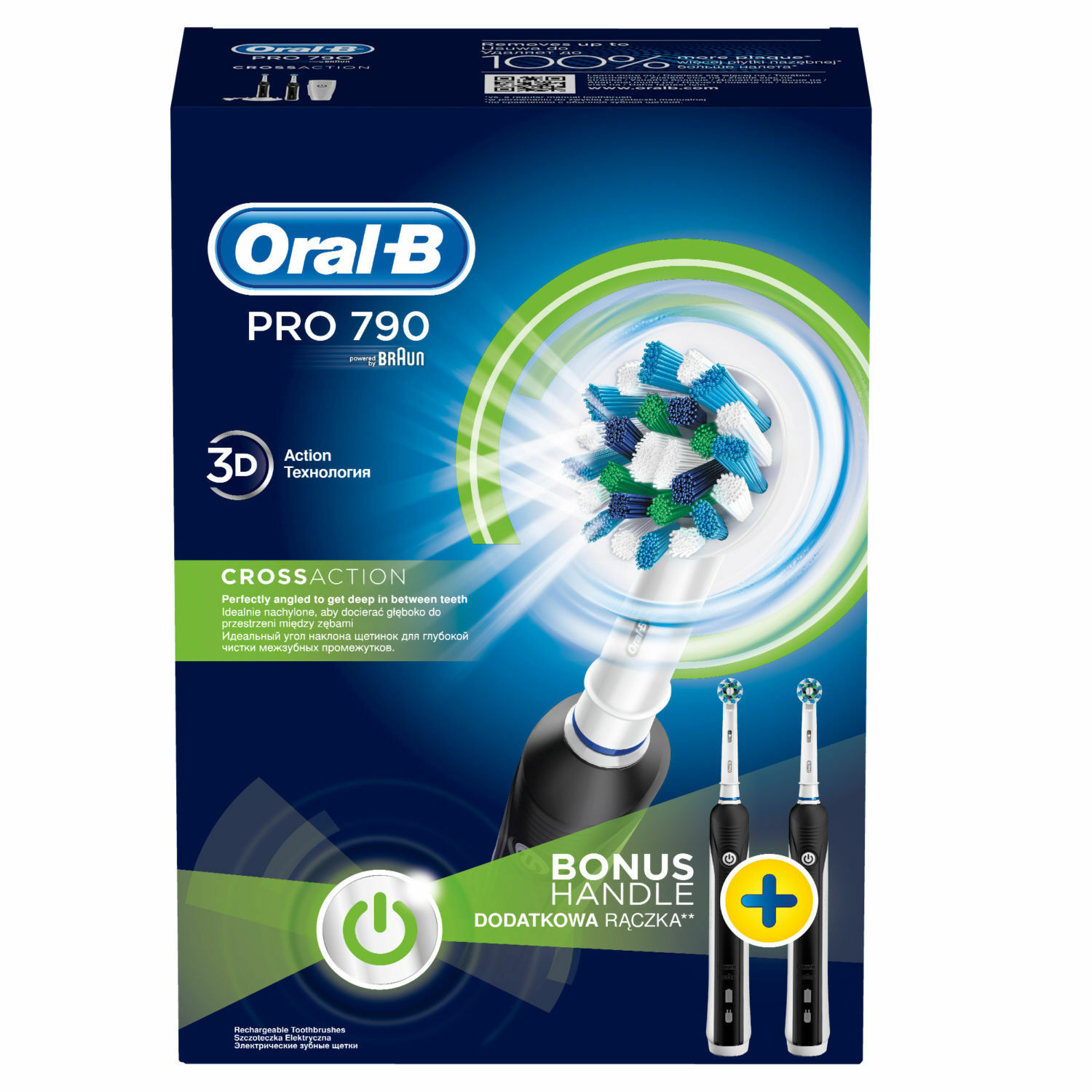 ORAL-B Pro 790 Crossaction Toothbrush - Duo Advantage Package - 2 Handles SALES image