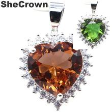 28x20mm Big Heart Shape 15x15mm Color Changing Spinel Natural CZ Gift For Mother Silver Pendant