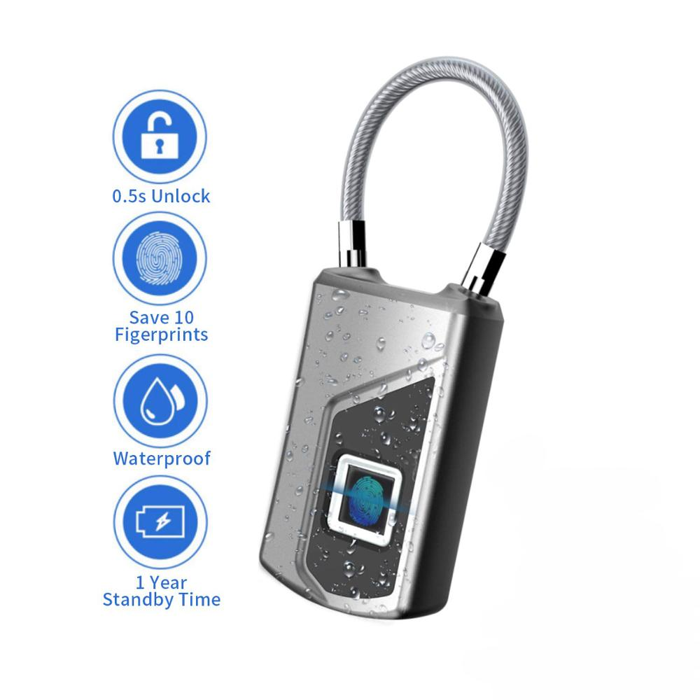 HONTUSEC Fingerprint Padlock Smart Waterproof Fingerprint Lock Ideal for Gym, Door, Luggage, Suitcase, Backpack, Bike, Office