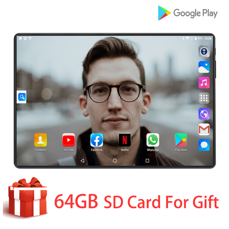 Global Version Tempered Glass 2.5D 10 Inch Tablet PC Android 9.0 Octa-Core 4G LTE 128G ROM 1280*800 IPS 3G 4G LTE Tablet 10.1