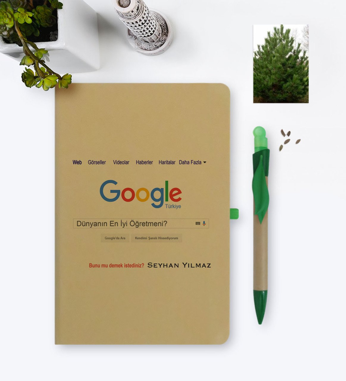Personalised Google is the Worlds Best Öğretmeni Themed Environmentalist Notebook and Seeded Pen Set-1