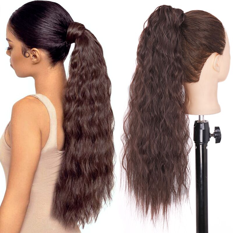 WERD Corn Wavy Long Ponytail Synthetic Wigs For Black Hairpiece Wrap On Clip Hair Extensions Ombre Brown Pony Tail Blonde Hair