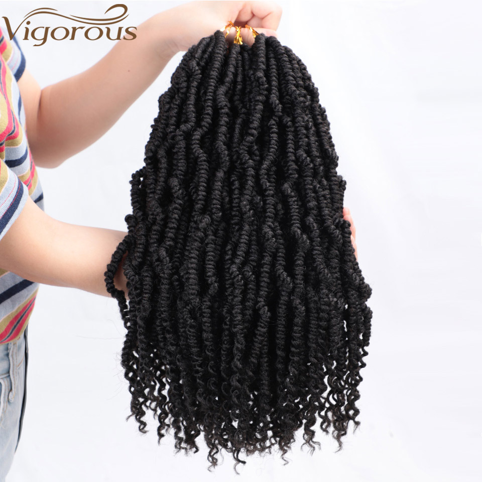 Vigorous Passion Spring Twists Synthetic Bomb Twist Crochet Hair Extensions Ombre Crochet Braids Pre Looped Fluffy Braiding Hair