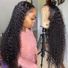 Onda de água 30 Polegada curto encaracolado frente do laço perucas de cabelo humano para preto feminino 4x4 encerramento peruca longa frontal profunda peruca brasileira 13x4