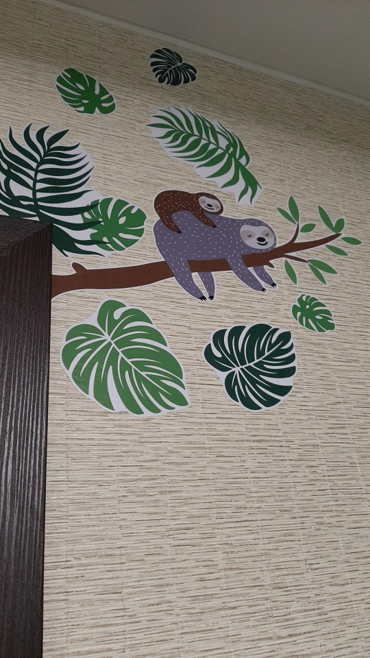 Sloth Tree Branch Wall Stickers Tropical Palm Leaf Wall Art Decals Kids Baby