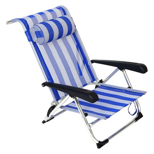 Folding Chair With Headrest (86  X  60  X  73 Cm) Aluminium 119698