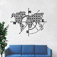 Metal World Map Wall Art Compass Flowers, Metal Wall Decor, Metal Sign, Metal Wall Art, Wall Hangings,Interior Decoration