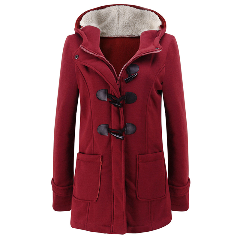 Fashion Hooded Women Coat Pure Buckle Zipper Front Plus Size Jacket Autumn Thin Duffle Coat Women Casual Slim Long Jacket Coat
