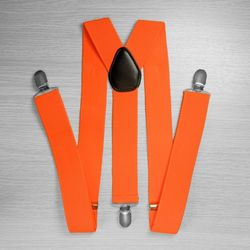 Suspenders for trousers wide (3.5 cm, 3 clips, orange) 52872