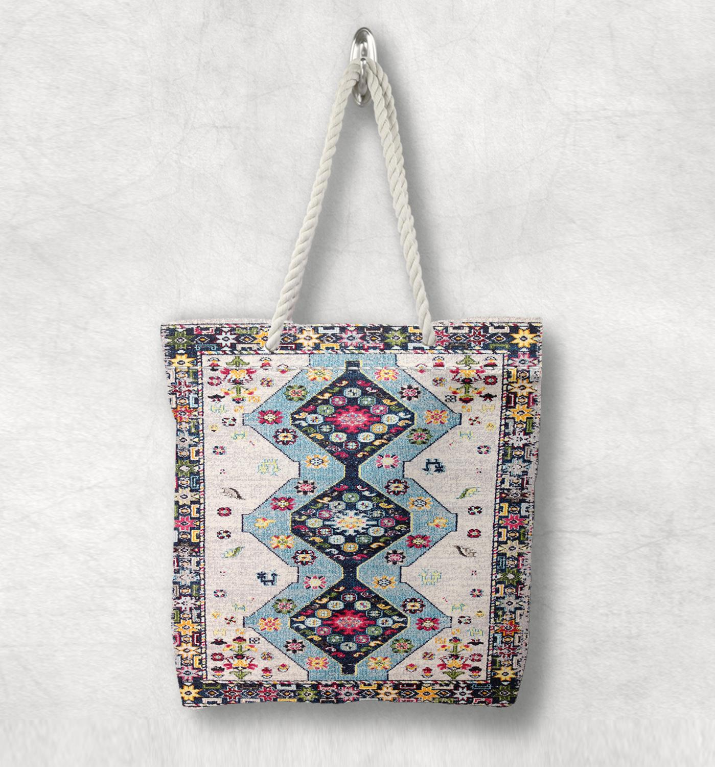 Else Blue Red Tiles Geometric Antique Anatolia Turkish White Rope Handle Canvas Bag Cotton Canvas Zippered Tote Bag Shoulder Bag