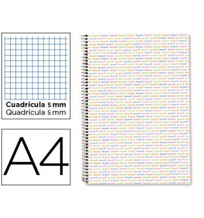 SPIRAL NOTEBOOK LIDERPAPEL A4 MICRO MULTILIDER LINED CAP 140H 80 GR TABLE 5MM 5 BANDS 4 DRILLS WHITE