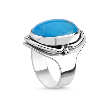 Silver 925 Sterling Turquoise Stone Handwork Ring