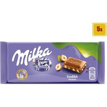 Milka Hazelnut Chocolate 80 gr - 5 Pieces    YOUR GREAT CHOCOLATE WITH A FLAVOR    FREE SHIPPING