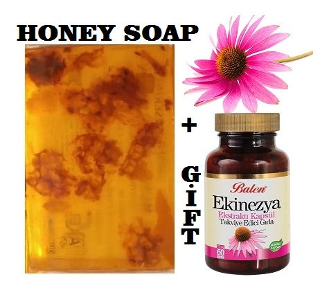 (gift Items)HANDMADE NATURAL HONEY SOAP 100gr+Gift Food Supplement Health Echinacea Angustifolia