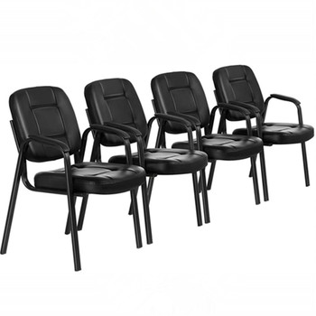 Set of 4 Ergonomic Reception Chairs 4pcs PU Leather Waiting Room Office Guest Chairs Executive Conference Room Chair Metal Frame giantex set of 4pcs dining chairs pu leather armless metel leg tufted accent chair modern leisure home furniture hw55717bk
