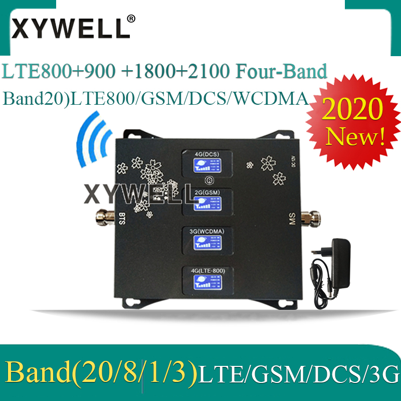 2020 New!! B20 LTE800 900 1800 2100mhz Four-Band Cell Phone Booster GSM Repeater 2G 3G 4G Cellular Amplifier LTE GSM DCS WCDMA